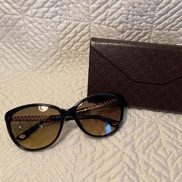 Gucci Black and Gold Sunglasses